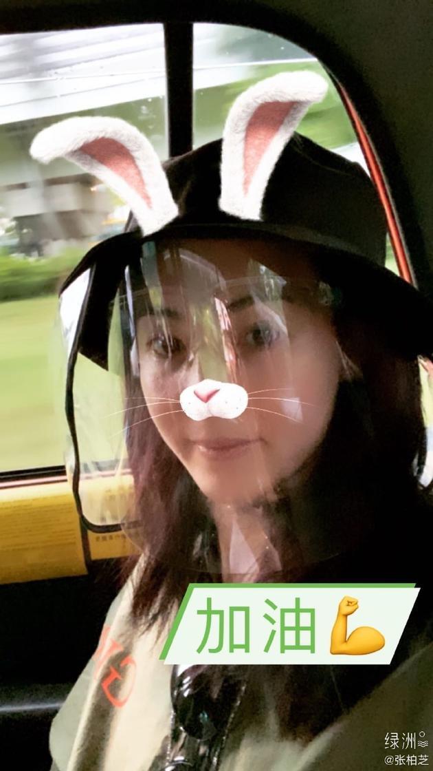 张柏芝素颜自拍加可爱兔子特效